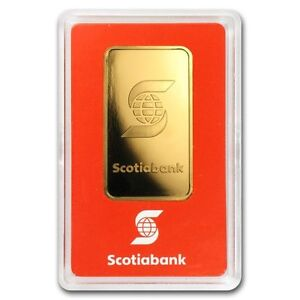 1 oz Lingotin Or Pur Banque Scotia Gold Scotiabank Valcambi Bar