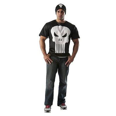 Punisher Krieg Zone Kostüm T-Shirt und Hut Marvel Comics Rubies Mittelgroß Neu