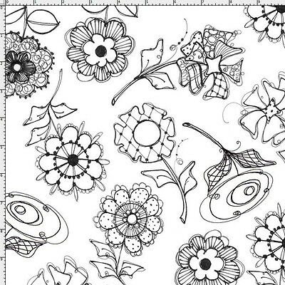 Loralie Fabric PAPER POSIES white with black flowers cotton quilt craft sew BTY Fabric Craft Papers