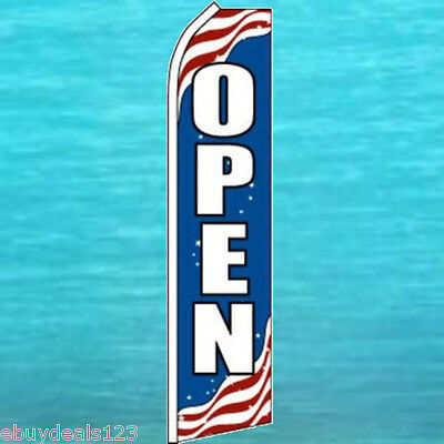 Open Patriotic Flutter Flag Tall Advertising Sign Feather Swooper Banner 25-1212