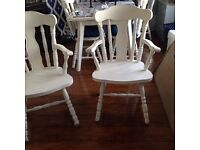 2 chairs solid wood shabby chic