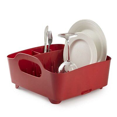 UMBRA TUB DISH RACK - Drainer Tray Washing Up Dishrack Tidy  - RED