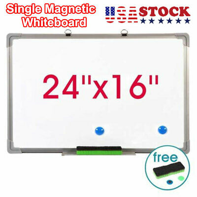 24x16 Single Side Magnetic Writing White Board Dry Erase Board With Eraser Us