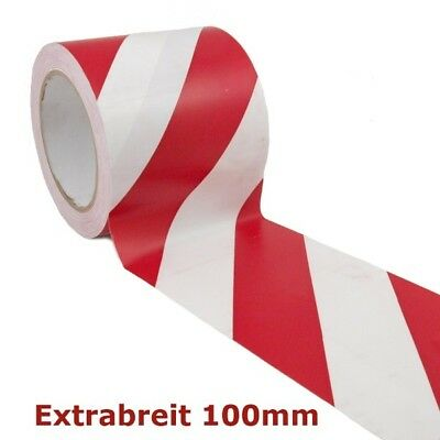 Warnband RW 510-10 Rot Weiss Extrabreit 100mm x 33m Weiß 10cm Warnklebeband