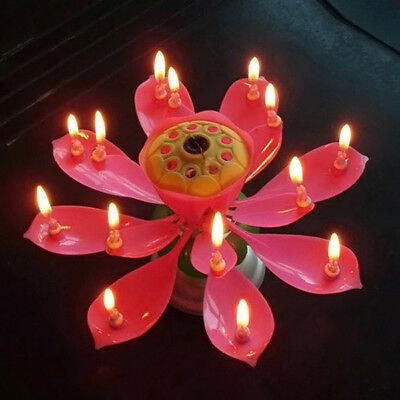 1pcs Lotus Candle Birthday Flower Musical Rotating Floral Cake Candles Music