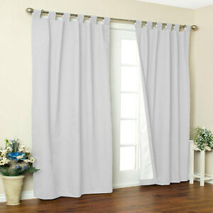 New Thermal Insulated Tab Top Drapes 80X63 White  FREE SHIPPING!