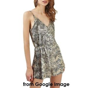 Topshop Gold Leaf Romper in Petite US 6 New with Tag