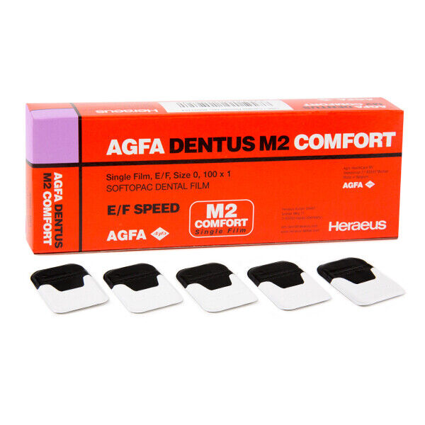 Agfa Dentus M2 Comfort - M2-54, E/F speed, Periapical Size #0 X-Ray Film