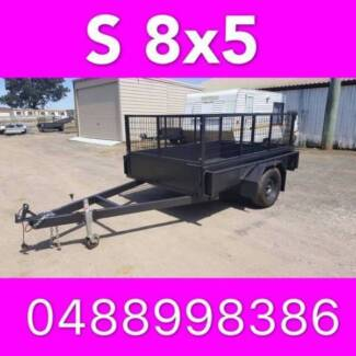 8x5 BOX TRAILER HEAVY DUTY CAGED LOCAL MADE FULL CHECKER PLATE 2
