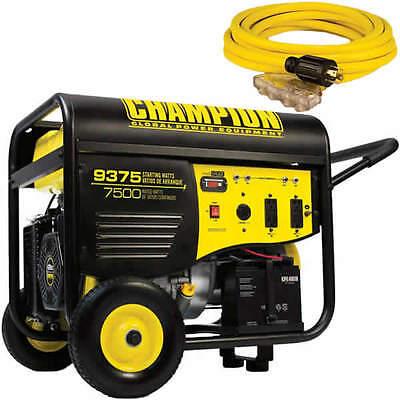 Champion 100219 - 7500 Watt Electric Start Portable Generator W 25 4-outlet...
