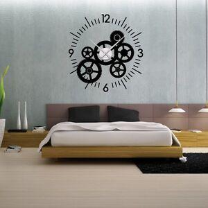 sticker mural horloge g ante mecanisme squelette avec. Black Bedroom Furniture Sets. Home Design Ideas