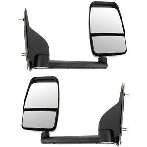Pair of 03-17 Chevy Express Savana Van Textured Black Manual Tow Mirror LH + RH