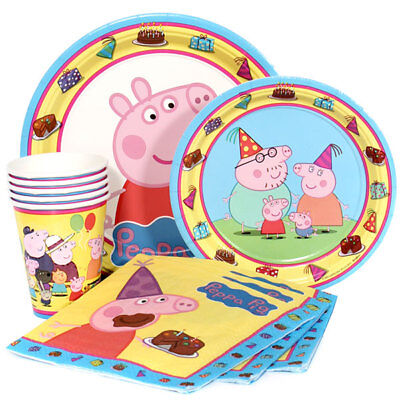 Peppa Pig Party Supplies Express Pack for 8 Guests (Cups Napkins & - Pig Party Plates