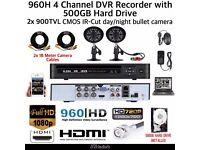2 Camera Full CCTV Kit | 960H HD DVR 500GB Hard Drive | 2x 900TVL Bullet Cameras