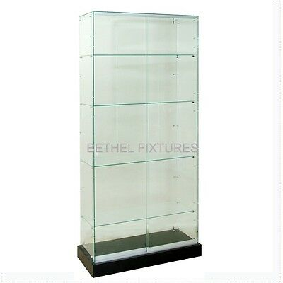 Frameless Glass Showcase 4 Shelves Glass Display Case Full Vision - Ftc36