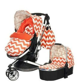 Free Delivery Orange Zig Zag Obaby Stroller including Carry Cot RRP £299 Like New Strollers prams