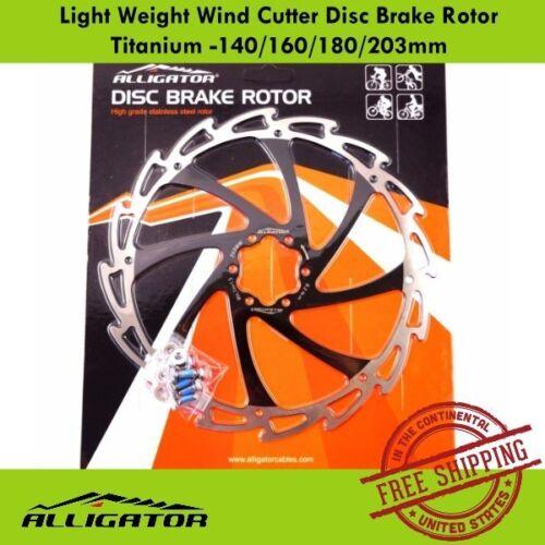 Black ALLIGATOR Light Weight Wind Cutter Disc Brake Rotor 140//160//180//203mm