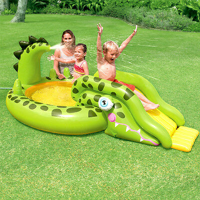 "99"" Gator Inflatable Swimming Paddling Pool Childs Kids Slide Spray Play Centre"