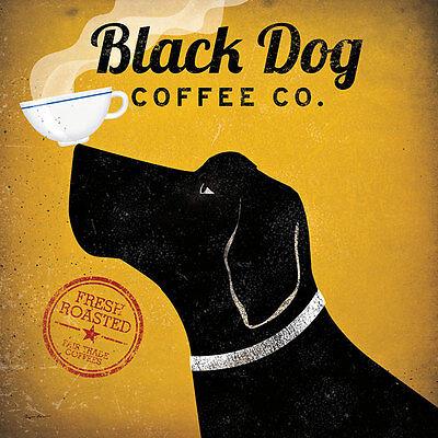 Black Dog Coffee Co Ryan Fowler Coffee Sign Dog Lab Animals Print Poster
