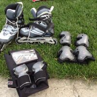 Women's Roller Blades with protection gear