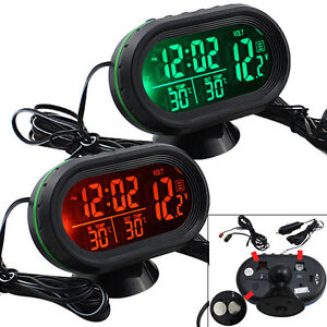 12V LCD Auto Thermometer KFZ Digital Uhr Voltmeter Multifunktion Spannungstester