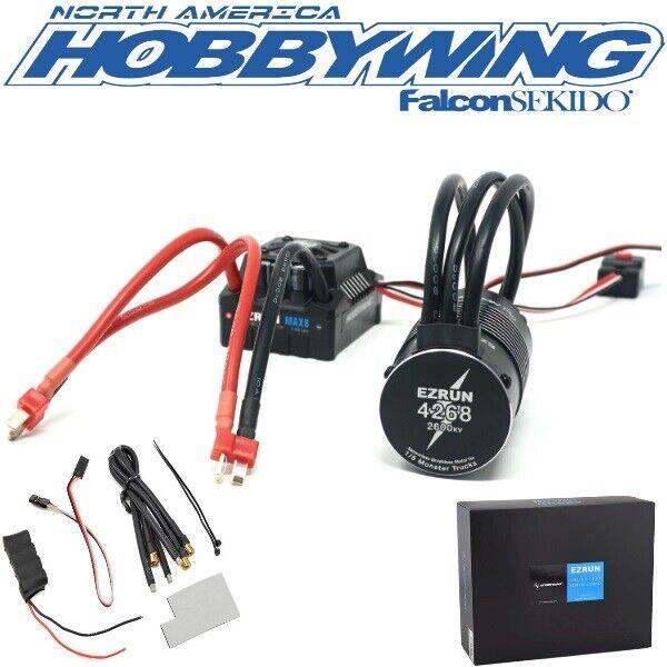 Hobbywing EZRun Max8 Waterproof Brushless ESC / 2600kV Motor Combo 1/8 Deans