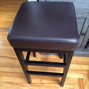 Solid Wood, Leather topped pair of Bar stool St. John's Newfoundland image 1