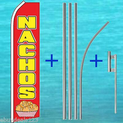 Nachos Flutter Flag 15 Tall Pole Mount Kit Feather Swooper Banner Sign 1193