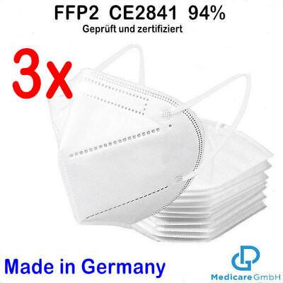 3x FFP2 medizinische Atemschutz-Masken Hergestellt in Bayern Geprüft CE2841
