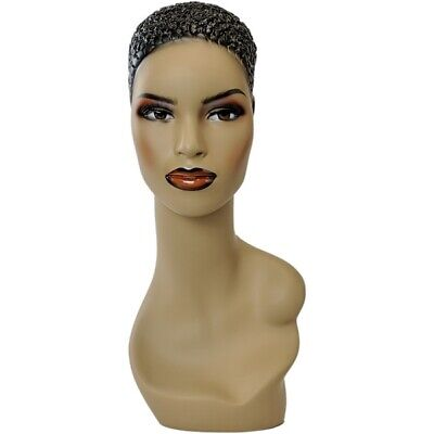 Mn-303 African American Female Mannequin Head Form Display W Pierced Ears