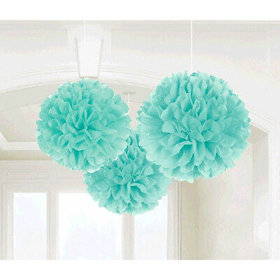 ROBIN'S EGG BLUE FLUFFY DECORATIONS (3) ~ Birthday Baby Shower Wedding Supplies