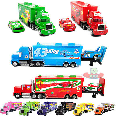 Disney Pixar CARS King/Chick Hicks/MACK HAULER SUPER-LINER Truck Toy Diecast