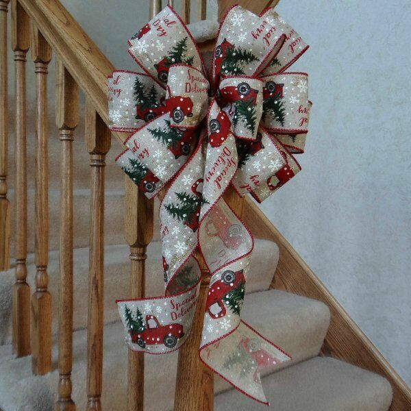 """10"""" WIDE BURLAP TYPE CHRISTMAS BOW~RED TRUCK~DECORATION FOR"""