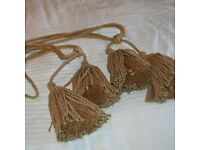 QUALITY LOVELY LAURA ASHLEY CURTAIN TIE BACKS - GOLD