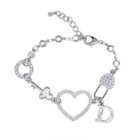 Chic Rhinestone Heart Letter Circle Bracelet For Women
