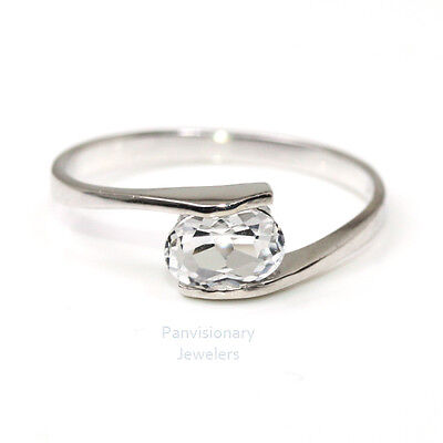 Birthstone Ring Sterling Stackable White Topaz April Gemstone 925 Sz 4.5 - 6.5