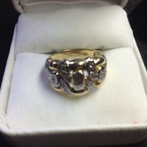 # 6---Vintage , 10k  Gold with Silver design  Ring
