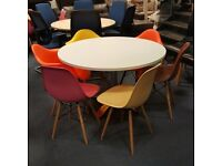 White Circular Meeting Table and Six Chairs