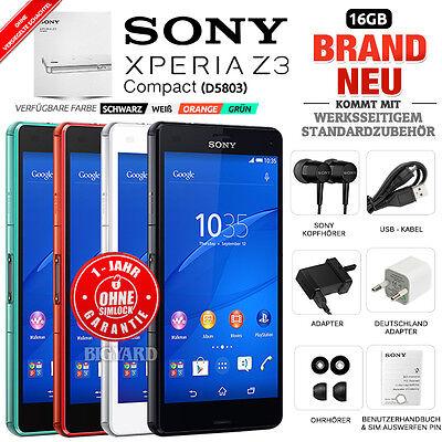 Neu Versiegelt Ohne Simlock SONY Xperia Z3 Compact D5803 Schwarz Weiß Grün Handy