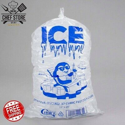 1000 Case 8 Lb Clear Plastic Ice Bag Machine Commercial Barcode Blue 8 X 20
