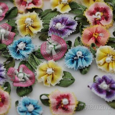 20/40pcs Ribbon Flowers With Bead Sewing Appliques Craft DIY Wedding Decor A0146 - Diy Ribbon Flowers