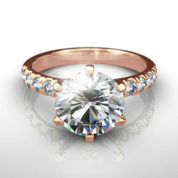 14k Rose Gold Red 1.8 Ct Diamond Ring Round Estate Awesome Womens Size 4 1/2 - 9