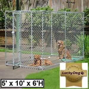 NEW LUCKY DOG CHAIN LINK KENNEL 142748176 5' x 10' x 6' HIGH HOLDING PEN PLAYPEN CAGES FENCED FENCE DOG LOCKABLE