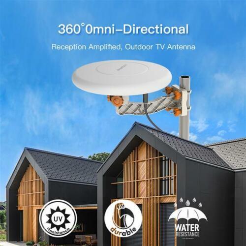 150 Miles 360° Omni-directional Amplified TV Antenna Outdoor HD Digital HDTV