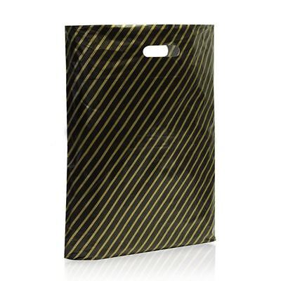 1000 Black and Gold Striped Plastic Carrier Bags Stripe 9''x11'' Boutique Shop