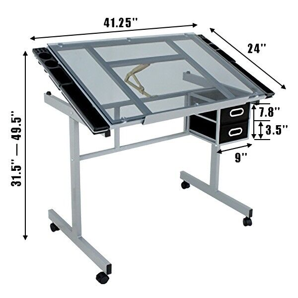 Craft Station Glass Top Drafting Table Drawing Desk Work Station Steel Frame