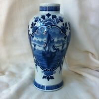 DELFT VASE;  FLOW BLUE,  hand painted sailboat