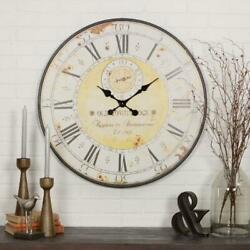 Large Round Wall Clock Vintage Rustic Roman Numeral Battery Operated Metal Watch
