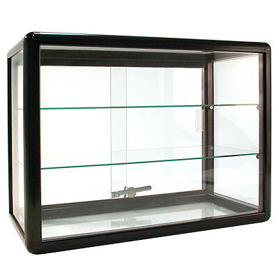 Countertop Glass Showcase Store Display 24wx12dx18h Black Made In Usa New