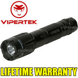 VIPERTEK VTS-T03 Metal Police 980 MV Stun Gun Rechargeable LED Flashlight Black